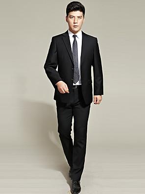 2017 obleky na míru fit zářez jediný oblek dvě tlačítka bavlna prolnutí pevné 2ks černé rovné třepotal žádné blacknone