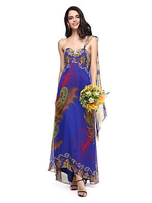 Lanting Bride® שובל וואטו (מתחבר בצוואר) שיפון שמלה לשושבינה  - פרחוני מעטפת \ עמוד מחשוף לב עם סיכה מקריסטל