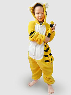 Kigurumi פיג'מות Tiger /סרבל תינוקותבגד גוף פסטיבל/חג הלבשת בעלי חיים Halloween שחור / צהוב טלאים פלנל Kigurumi ל ילדהאלווין (ליל כל
