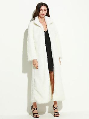 אחיד עומד סגנון רחוב יום יומי\קז'ואל / מידות גדולות מעיל פרווה נשים,לבן / שחור שרוול ארוך חורף עבה דמוי פרווה