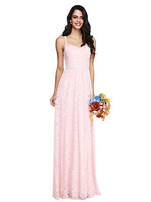 Lanting Bride® עד הריצפה תחרה אלגנטי / גב יפהפייה שמלה לשושבינה - מעטפת \ עמוד רצועות ספגטי עם קפלים