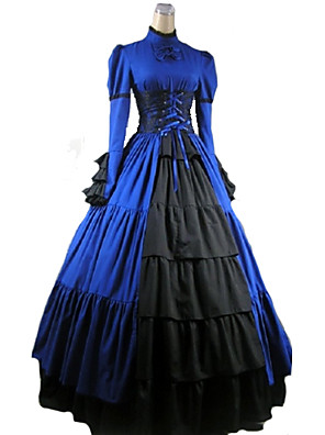 Jednodílné/Šaty Gothic Lolita Viktoria Tarzı Cosplay Lolita šaty Červená / Fialová / Černá / Modrá Jednobarevné Dlouhé rukávy Long Length