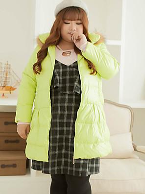 Damen Daunen Mantel,Standard Einfach Lässig/Alltäglich / Übergröße Solide-Polyester Weiße Entendaunen Langarm Grün Mit Kapuze