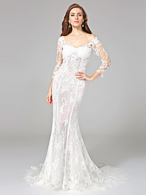 Lanting Bride® Trumpet / Mermaid Wedding Dress - Classic & Timeless Open Back Court Train Off-the-shoulder Lace with Appliques