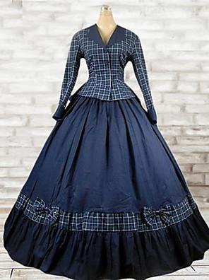 Úbory Klasická a tradiční lolita Lolita Cosplay Lolita šaty Inkoustová modř Pléd Dlouhé rukávy Long Length Vrchní deska / Šaty Pro Dámské