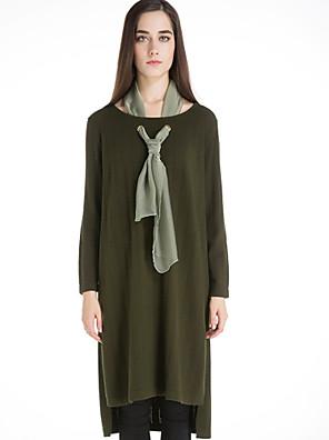 Dames Casual/Dagelijks Vintage Lang Pullover Effen-Zwart / Groen Ronde hals Lange mouw Wol Winter Medium Micro-elastisch