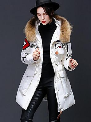 Dámské Standardní Dlouhý kabát Jednoduché Běžné/Denní Tisk-Kabát Polyester Prachové kachní peří bílé Dlouhý rukávRůžová / Bílá / Béžová /