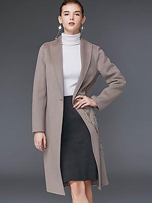 Damen Stickerei Einfach Lässig/Alltäglich Mantel,Winter Hemdkragen Langarm Rot / Grau Wolle / Polyester