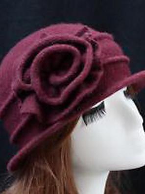 כובע קלושה\עם שוליים רחבים נשים יום יומי,צמר קיץ / חורף