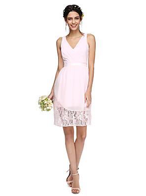 Lanting Bride® באורך  הברך שיפון / תחרה שמלה לשושבינה  - שקוף מעטפת \ עמוד צווארון וי עם סרט / בד בהצלבה