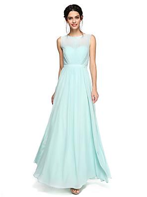 Lanting Bride® Na zem Šifón Šaty pro družičky - Elegantní A-Linie Klenot s Šerpa / Stuha / Sklady