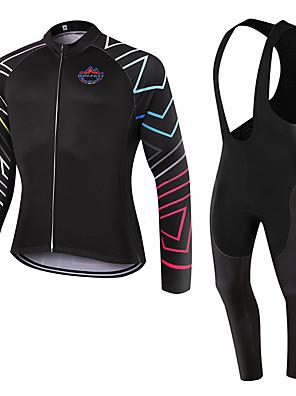 ספורטיבי חולצת ג'רסי וטייץ ביב לרכיבה יוניסקס שרוול ארוך אופנייםנושם / שמור על חום הגוף / ייבוש מהיר / עמיד לאבק / לביש / דחיסה / 3D לוח