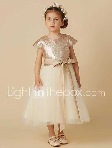 9ee3265f85e9c Princesse Longueur Genou Robe de Demoiselle d Honneur Fille - Tulle    Pailleté Manches Courtes