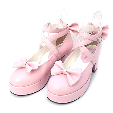 Buy Lolita Shoes Sweet Princess High Heel Bowknot 6.5 CM Black / Pink Women PU Leather/Polyurethane Leather