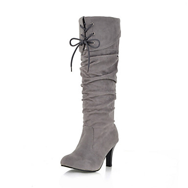Women's Fall Winter Fashion Boots Suede Casual Dress Stiletto Heel Lace-up Black Brown Yellow Red Gray