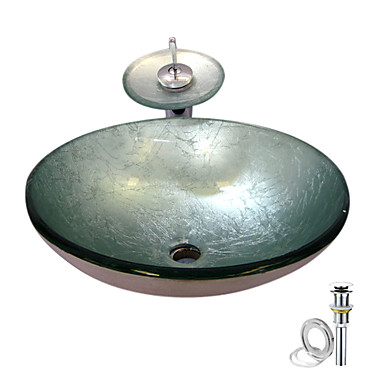 Vessel Sink Mounting Ring : Vessel Sink With Waterfall Faucet ,Pop - Up drain and Mounting Ring ...