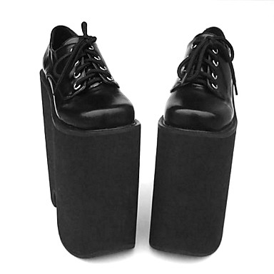 Buy Lolita Shoes Punk High Heel Solid 22 CM Black Women PU Leather/Polyurethane Leather