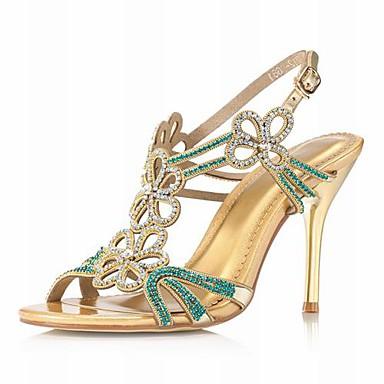 reais de couro sandálias de salto agulha com sapatos de strass casamento / festa da noite de ...