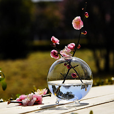 Table centerpieces round clear glass vase centerpiece - Centros de mesa sencillos ...