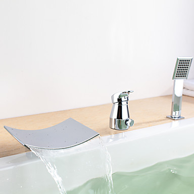 Waterfall Tub Faucet With Hand Shower Chrome Finish