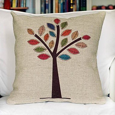 Buy Color Tree Cotton Decorative Pillow Cover