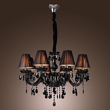 chandelier luxury modern black crystal living 8 lights 240340 2016. Black Bedroom Furniture Sets. Home Design Ideas