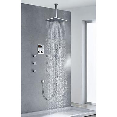 Eigentijdse chromen afwerking thermostatische lcd douche kraan met 12 inch plein douchekop - Eigentijdse douche ...
