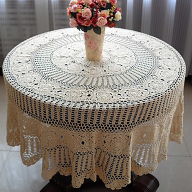 Beige 100 cotton round table cloths 559538 2017 for Round table 99