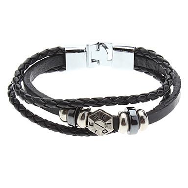 Черные камни из бисера и три слоя кожаный браслет.