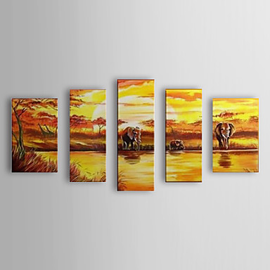 Hand Painted Oil Painting Landscape Elephant and a River with Stretched Frame...