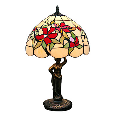 40W Beautiful Vintage Table Lamp With Red Flower And Green