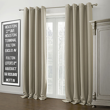 #(One Panel) Grommet Top Ivory Solid Warm Blackout Curtain