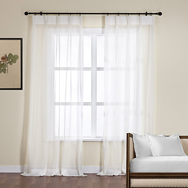 (One Pair) Off White Polyester Sheer Curtain