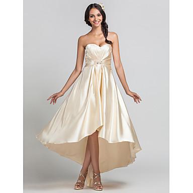 LAN TING BRIDE Asymmetrical Sweetheart Bridesmaid Dress - Open Back Sleeveless Stretch Satin