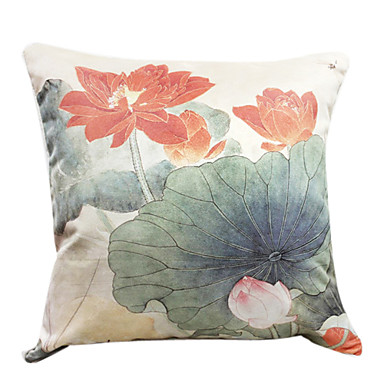 18 Square Lotus Pond Print Polyester Decorative Pillow Cover 743493 2017
