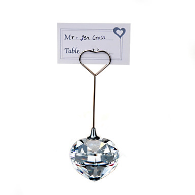 Place cards and holders crystal heart seats clip name card for Place settings name card holders