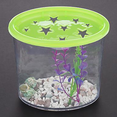 Mini plastic fish tank with plant cobblestone conch for Small plastic fish