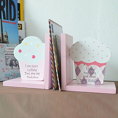 """12""""Lovely Cake Style Pink Polyresin Bookend"""