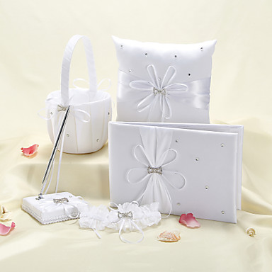 Buy 5 Collection Set White Guest Book / Pen Ring Pillow Flower Basket Garter
