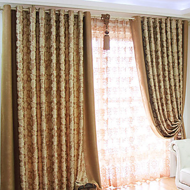 (One Panel Grommet Top) Country Fancy Floral Embossed Blackout Curtain