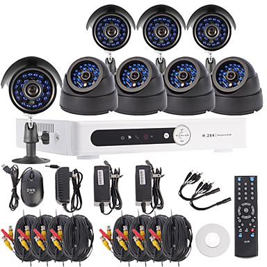 8CH Channel H.264 DVR CCTV Security System Kit(4pcs4pcs Dome/Bullet Cameras with 420TVL 1/4 CMOS)
