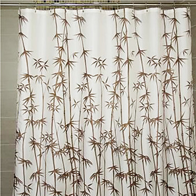 Shower Curtain Brown Bamboo Print Thick Fabric Water Resistant W78 X L71 904105 2016