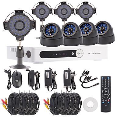 8CH Channel D1 DVR CCTV Security System Kit(4pcs4pcs Dome/Bullet Cameras with 420TVL 1/4 CMOS)