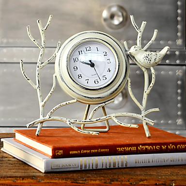 "10""Country Type Bird Style White Metal Analog Tabletop Clock"