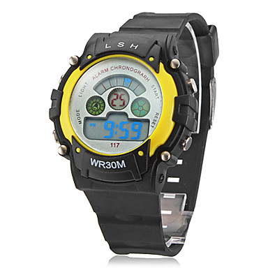 Children's Multifunctional Digital LCD Black Rubber Band Wrist Watch (Assorted Colors) Cool Watches Unique Watches