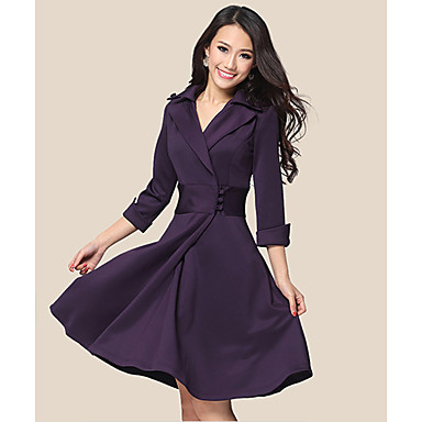 Women's Elegant Lapel Wrap Dress with Buttons