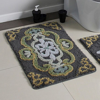 bath rug 1 set modern gray color floral print 918044