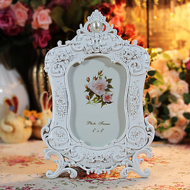 """12.25""""H Country Style Polyresin White Picture Frame"""