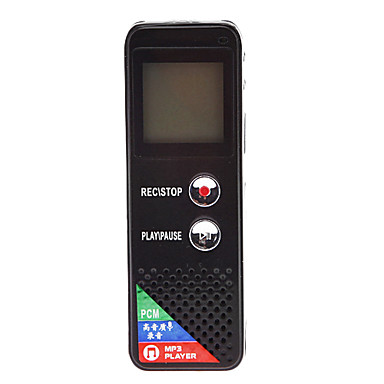 T-50 LCD Screen Rechargeable Digital Voice Recorder with MP3 Player - Black (4GB)