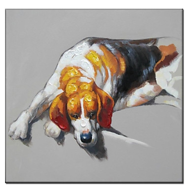 Hand Painted Oil Painting Animal Puppy in Nap 01